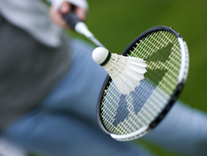 Picture of woman holding badminton racquet